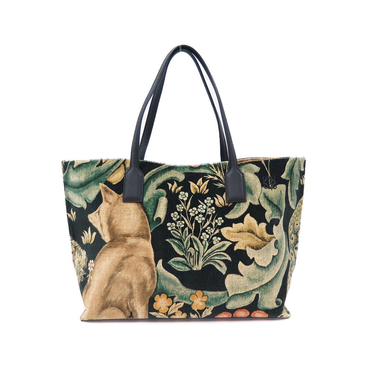 ロエベの犬と植物がプリントされたトートバッグ