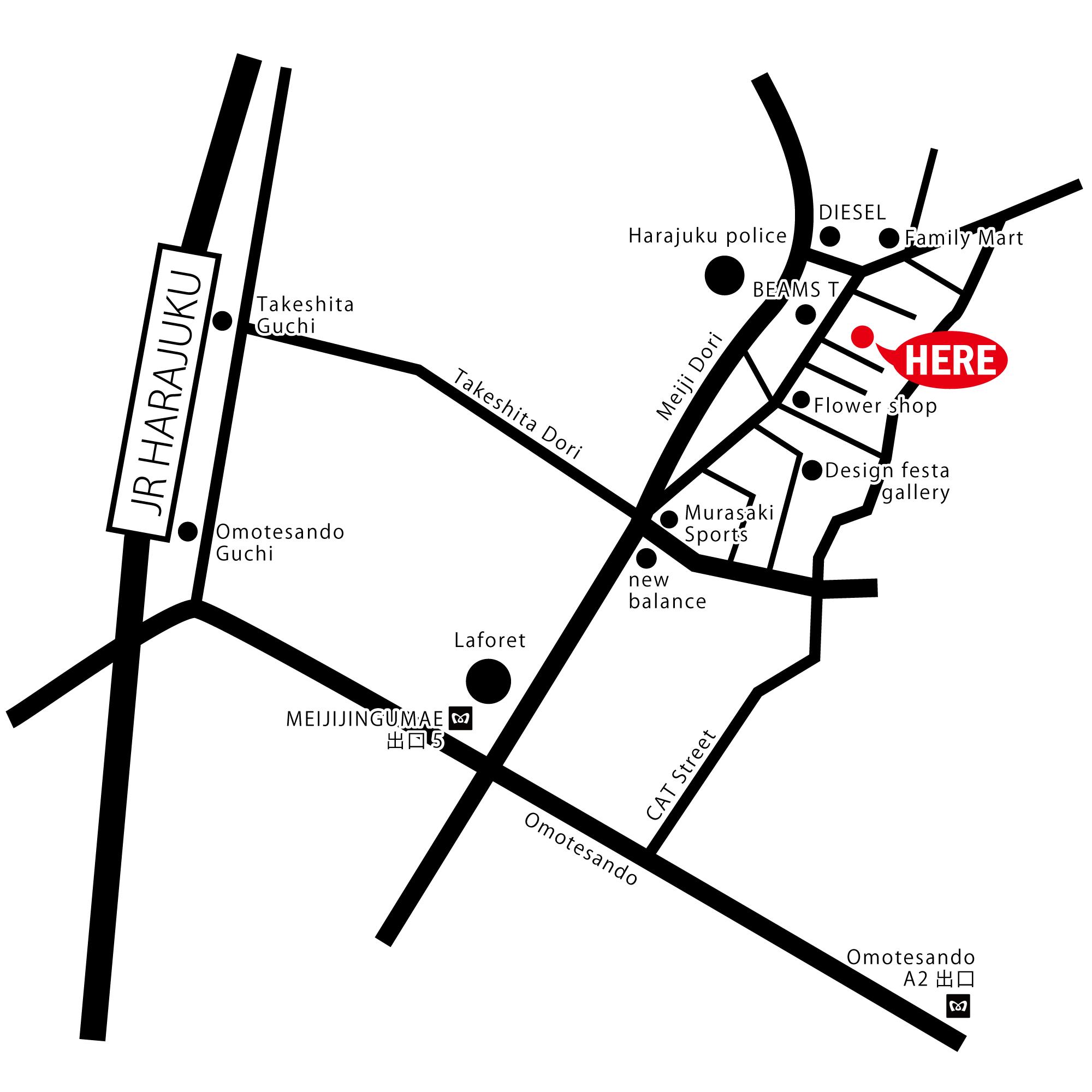 エルメスのポップアップストアの場所を示した原宿駅周辺の地図