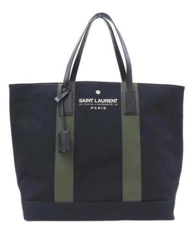 サンローランの黒のキャンバス地バッグ
