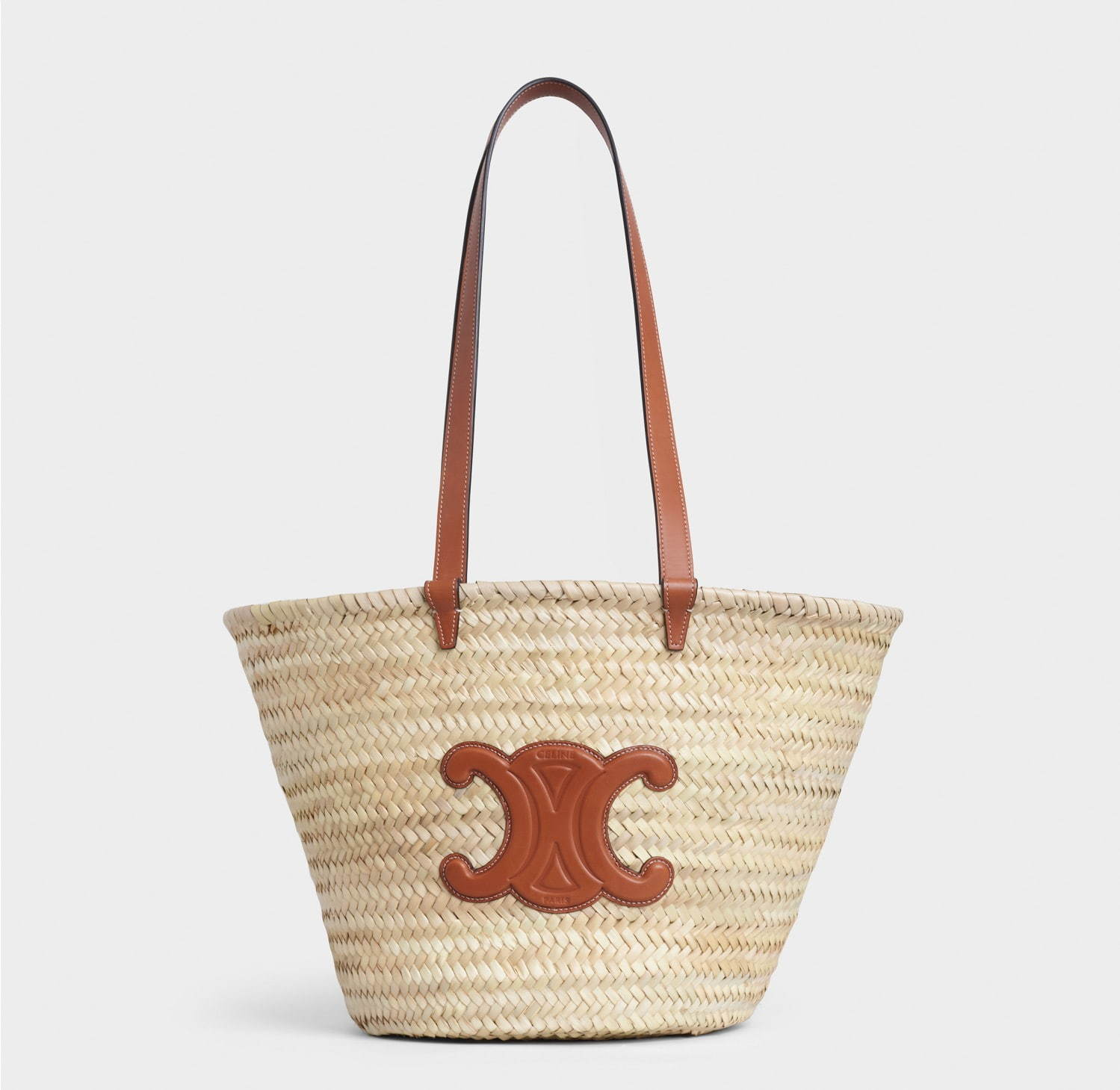 セリーヌのカゴバッグ「クラシック パニエ ラフィア&カーフスキン ミディアム トリオンフ」