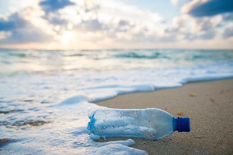 海辺に流れ着いたペットボトル