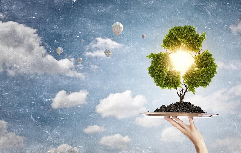 緑で表現したリサイクルマーク