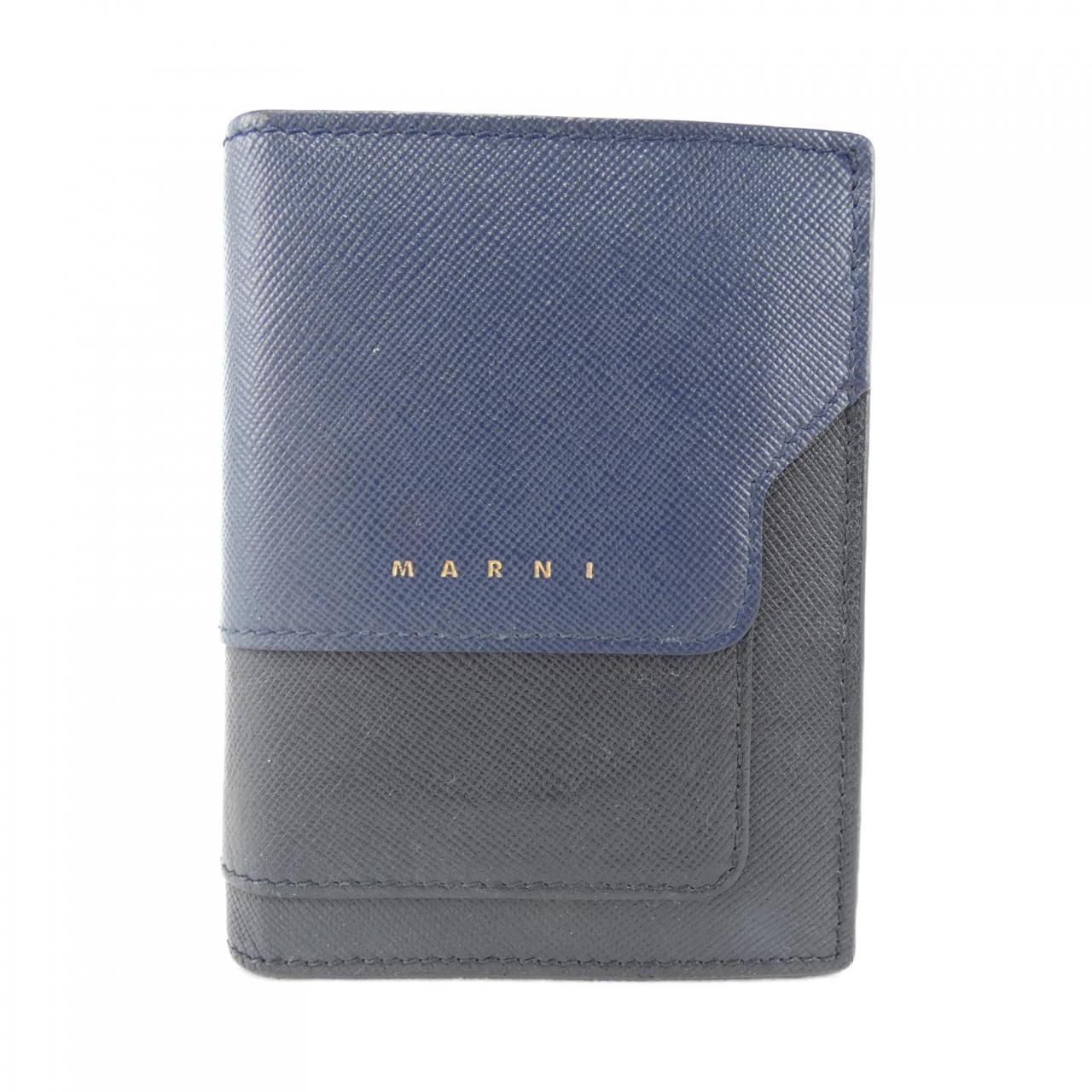 ブルー×ネイビーュの二つ折り財布