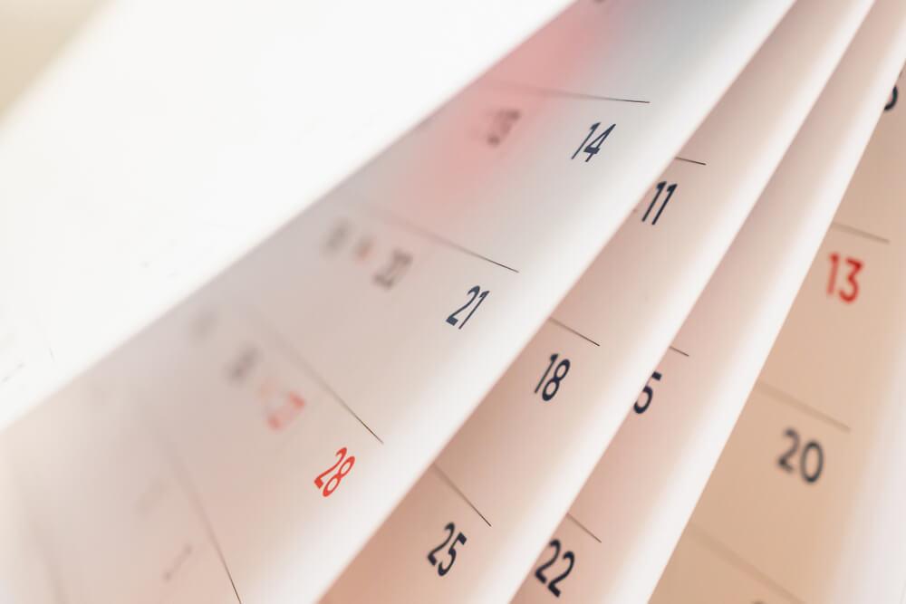 カレンダーのページ