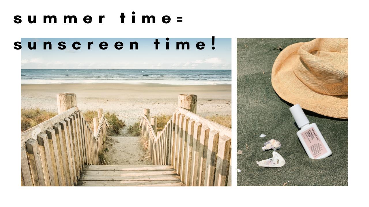 夏をイメージさせる画像(海や帽子、日焼け止め)